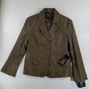 Courture Brown Leather Blazer Pamela McCoy